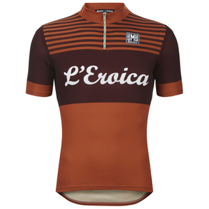 Santini L'Eroica Gaiole 2015 Event Series Techno Wool Short Sleeve Jersey - Dark Red