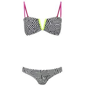 South Beach Women's Neon Lime Bandeau Bikini - Black