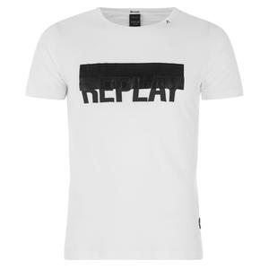 REPLAY Men's Printed Logo Crew Neck T-Shirt - Optical White