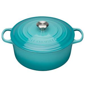 Le Creuset Signature Cast Iron 20cm Round Casserole Dish, 2.4L - Teal