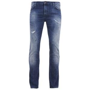 BOSS Orange Men's Tapered Fit Worn Detail Denim Jeans - 429 Blue
