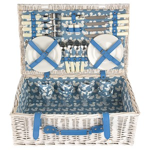 Anorak Kissing Squirrels Picnic Hamper - Blue/White
