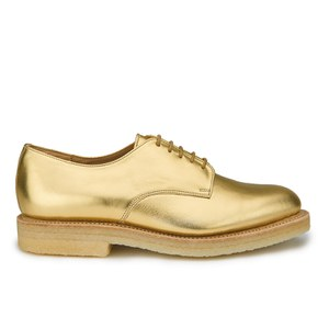 YMC Women's Solovair Lace Up Leather Crepe Sole Derby Shoes - Gold Leather