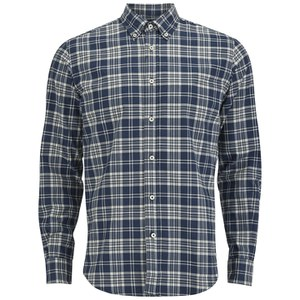 Tripl Stitched Large Check Long Sleeve Shirt - Blue