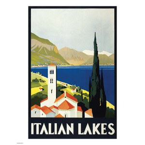 Vintage Travel Italian Lakes Print
