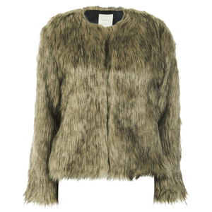 nümph Womens Fake Fur Box Jacket - Brown