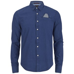 Scotch & Soda Men's Poplin Long Sleeve Shirt - Blue