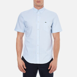 Lacoste Men's Oxford Short Sleeve Shirt - Atmosphere/White