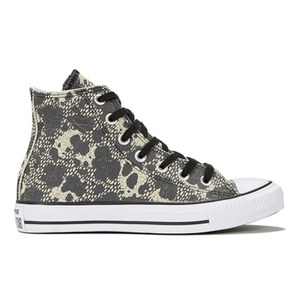 Converse Women's Chuck Taylor All Star Animal Material Hi-Top Trainers - Parchment/Black/White