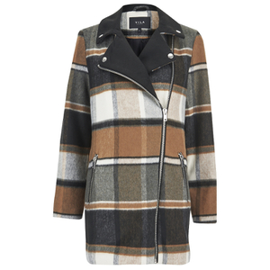 VILA Women's Vintour Asymmetric Checked Coat - Sandshell