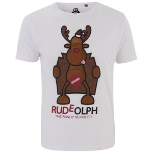 Xplicit Men's Randy Reindeer Christmas T-Shirt - White