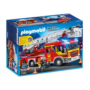 PLAYMOBIL City Action: Camión de bomberos y escalera con luces y sonido (5362)
