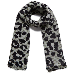 Maison Scotch Women's Lightweight Wool Scarf - Leopard