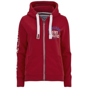 Superdry Women's Track and Field Zip Hoody - Rich Scarlet