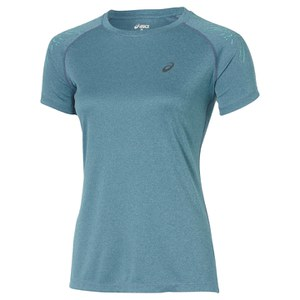 Asics Women's Stripe Running T-Shirt - Mosaic Blue Heather