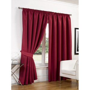 Dreamscene Faux Silk Blackout Curtains - Red