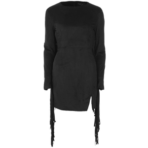 Lavish Alice Women's Suede Fringe Detail Mini Dress - Black