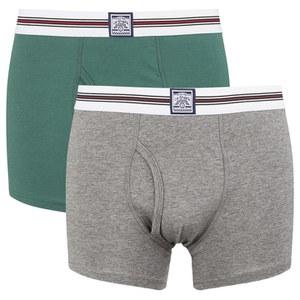 Le Shark Men's 2 Pack Striped Waistband Boxers - Jasper Green/Mid Grey Marl