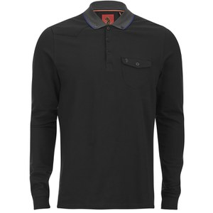 Luke 1977 Men's Aggrigate Collar Long Sleeve Polo Shirt - Jet Black