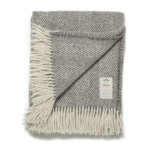 Avoca Heavy Herringbone Throw - Grey - 142cm x 183cm