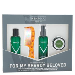 Kit de soin pour barbe de Men Rock - Beardy Beloved (Shampoing à barbe, baume à barbe, cire à moustache, peigne à barbe)