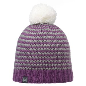 Buff Knitted and Polar Dorn Hat - Plum