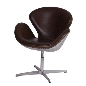 Vintage Aviator Swivel Cowboy Leather and Aluminium Chair