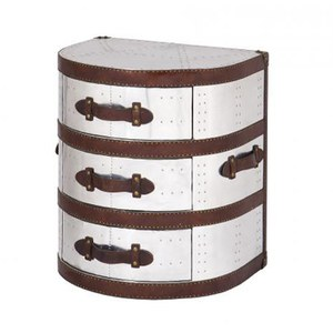 3 Drawer Round Tower Leather and Aluminium Trunk