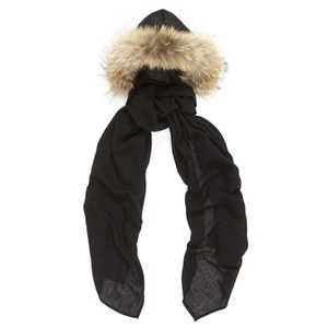 Charlotte Simone Women's Fur Lined Hooded Scarf - Black/Beige Fur Trim