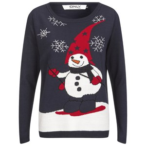 ONLY Women's Jingle Bells Christmas Jumper - Night Sky