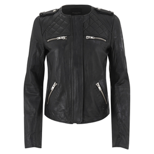 Selected Femme Women's Isabello Leather Jacket - Black