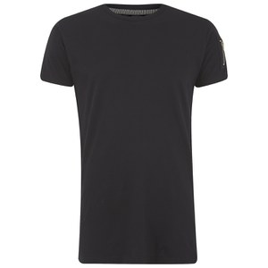 Eclipse Men's Gilson Zip Sleeve Longline T-Shirt - Black