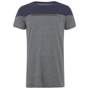 Eclipse Men's Ruskin Zip Chest Cut and Sew T-Shirt - Grey/Navy