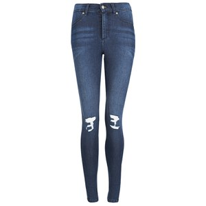 Cheap Monday Women's High Spray High Waisted Worn Jeggings - Blue On Blue