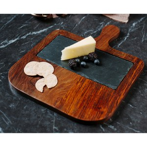 Just Slate Sheesham Wood Serving Paddle with Slate Insert