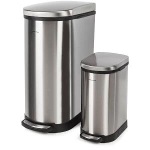 Morphy Richards 977101 Rectangular Pedal Bin Set - Stainless Steel - 40L & 10L