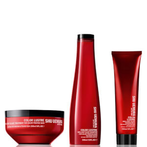 Shampoo (300 ml), Máscara (200 ml) e Leite Térmico (150 ml) Color Lustre Color Lustre Sulfate Free da Shu Uemura Art of Hair