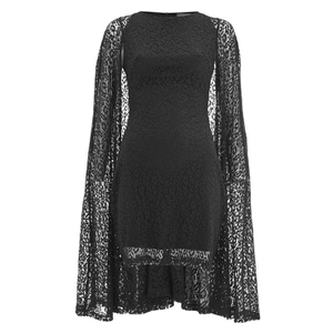 Lavish Alice Women's Lace Cape Mini Shift Dress - Black
