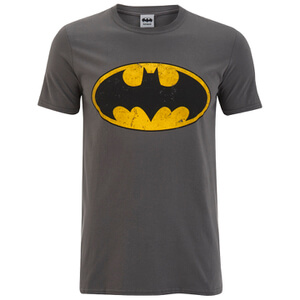 DC Comics Batman Distressed Logo Herren T-Shirt - Dunkelgrau