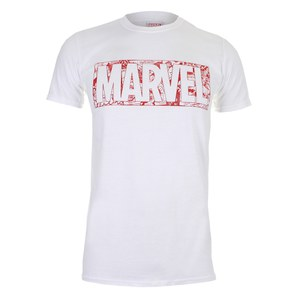Marvel Men's Strip Logo T-Shirt - White