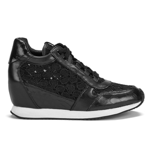 Ash Women's Dream Lace Wedged Trainers - Black