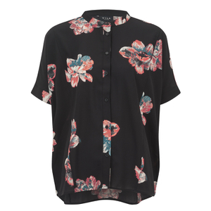 VILA Women's Nadine Short Sleeve Shirt - Black