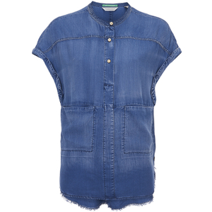 Maison Scotch Women's Short Sleeve Shirt - Blue