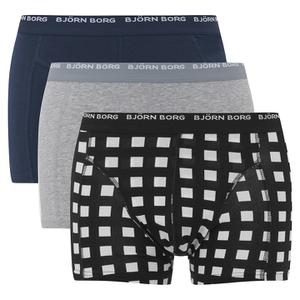 Bjorn Borg Men's Triple Pack Check Boxers - Blue/Grey/Black