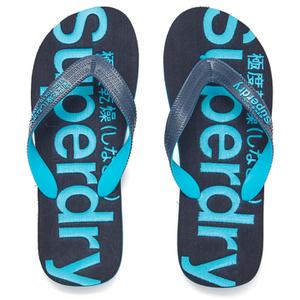 Superdry Men's Flip Flops With Clear Sole - Fluro Blue/Dusk Navy