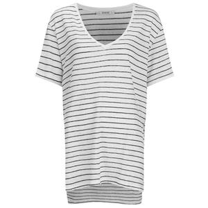 Gestuz Women's Marie Striped V-Neck Linen T-Shirt - Off White/Black