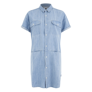 Carhartt Women's Corry Short Sleeved Denim Shirt Dress - Blue Super Bleach