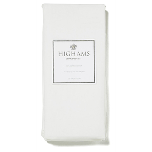 Highams 100% Egyptian Cotton Plain Dyed Fitted Sheet - White [China Sizing Only]