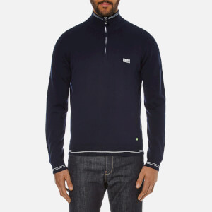 BOSS Green Men's Zime Zip Neck Knit Jumper - Navy