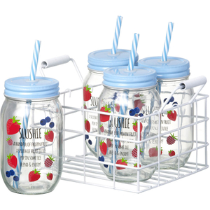 Parlane Set of Jars with Straws - Slushie (Set of 4)
